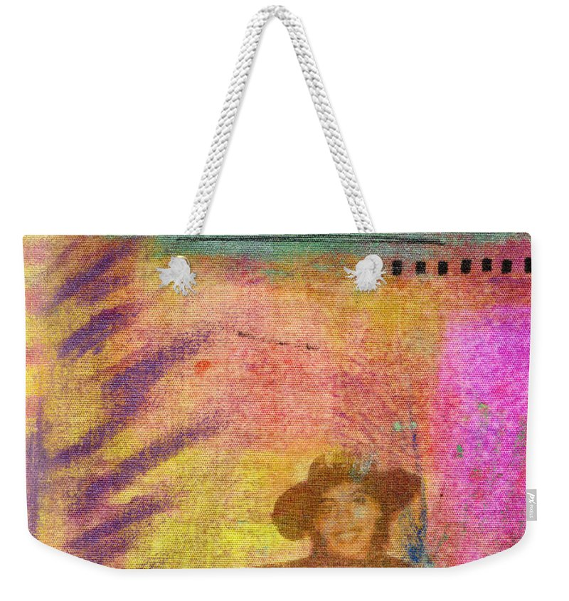 Woman Weekender Tote Bag featuring the mixed media Happily Waiting by Angela L Walker