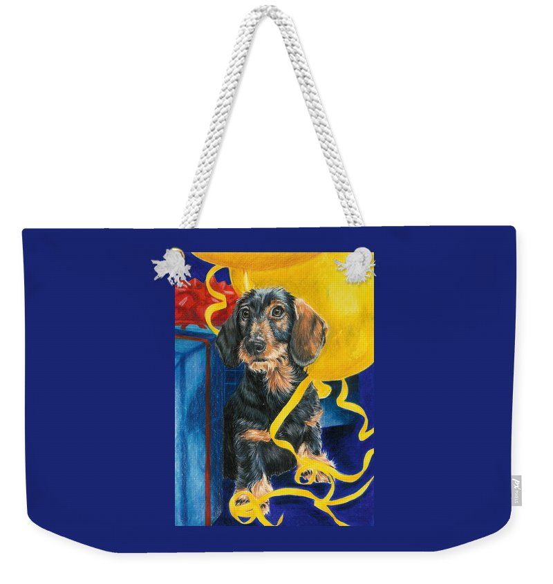 Dogs Weekender Tote Bag featuring the drawing Happy Birthday by Barbara Keith
