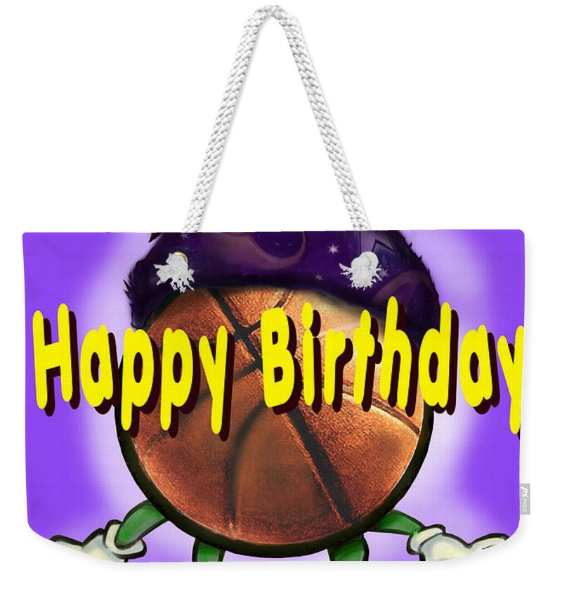 Happy Birthday Weekender Tote Bag featuring the greeting card Happy Birthday Basketball Wiz by Kevin Middleton