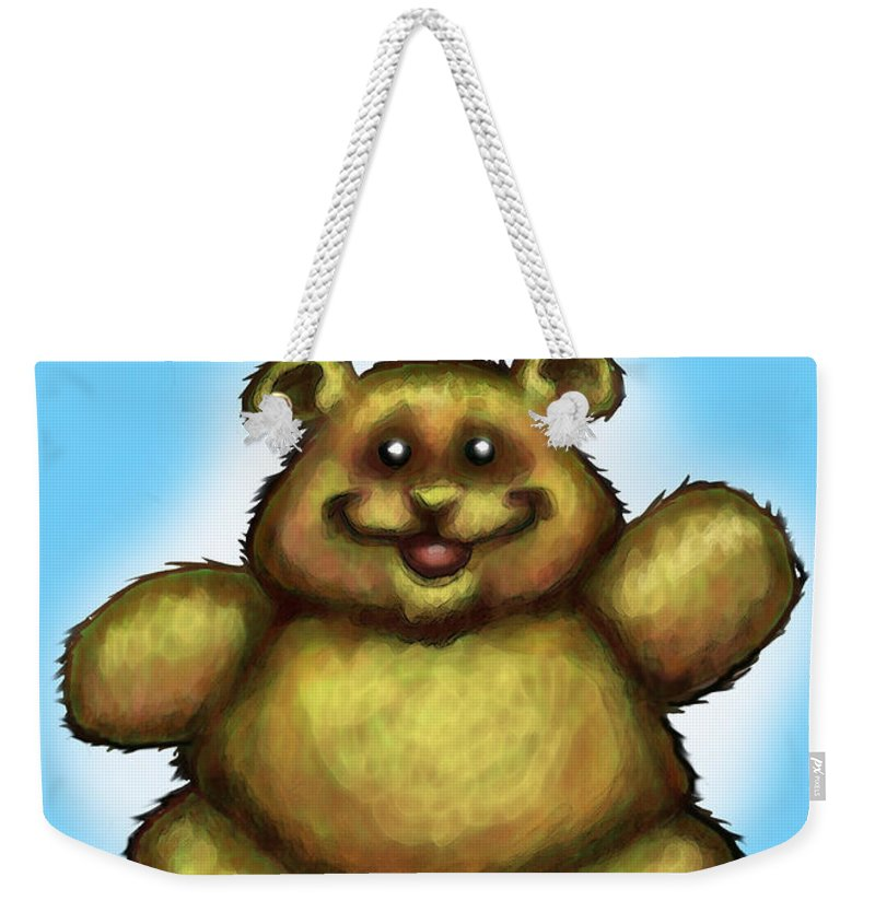 Happy Birthday Weekender Tote Bag featuring the greeting card Happy Birthday Bear by Kevin Middleton
