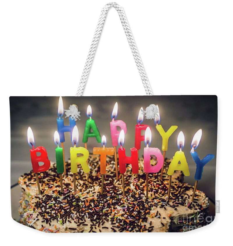 Candles Weekender Tote Bag Featuring The Photograph Happy Birthday By Carlos Caetano