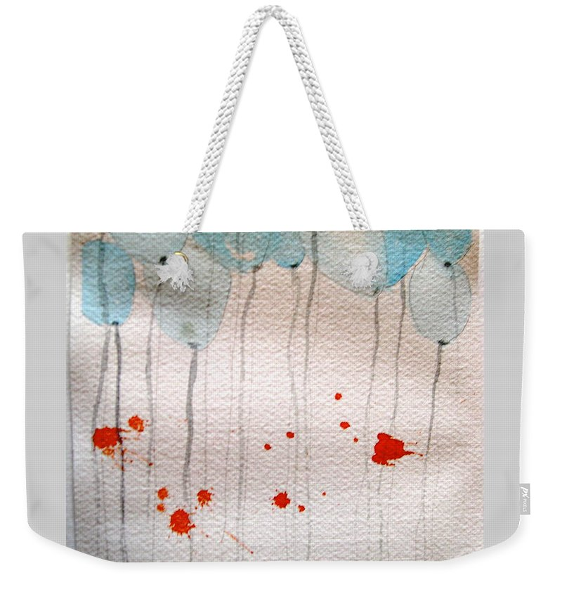 Balloon Celebrate Fun Happy Play Weekender Tote Bag featuring the painting Happy Birthday Katherine by Patricia Caldwell