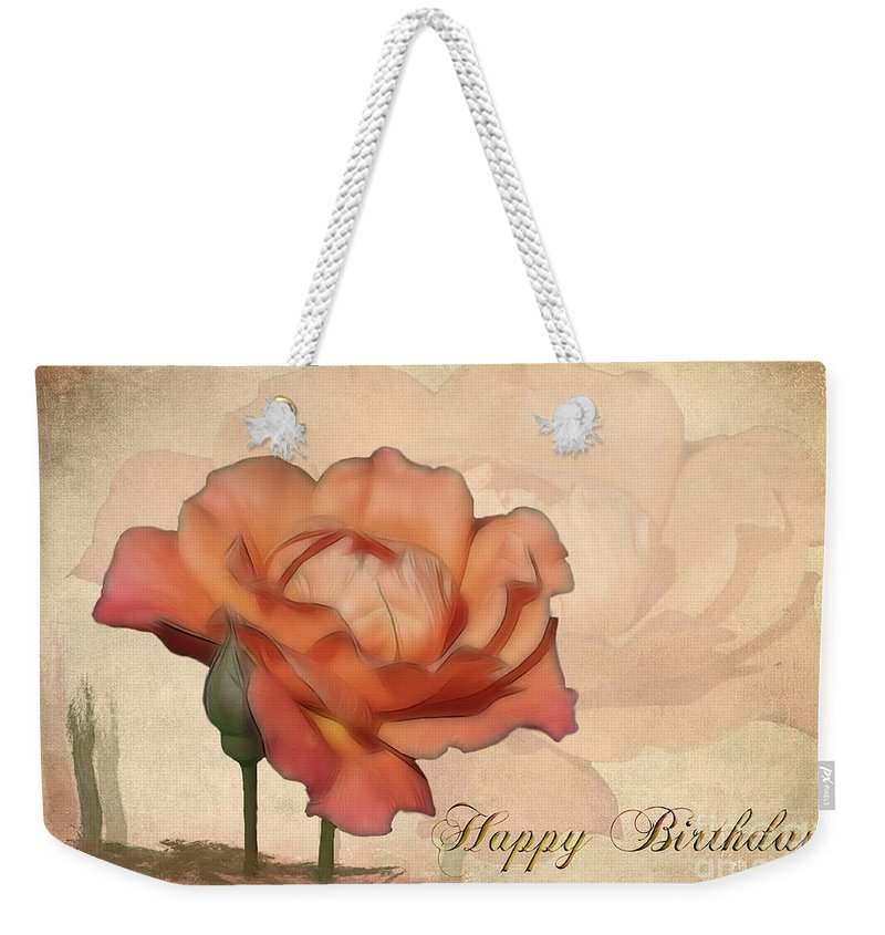 Flower Weekender Tote Bag featuring the photograph Happy Birthday Peach Rose Card by Teresa Zieba