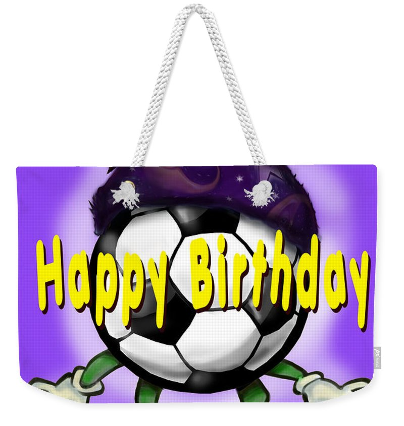 Soccer Weekender Tote Bag featuring the greeting card Happy Birthday Soccer Wizard by Kevin Middleton
