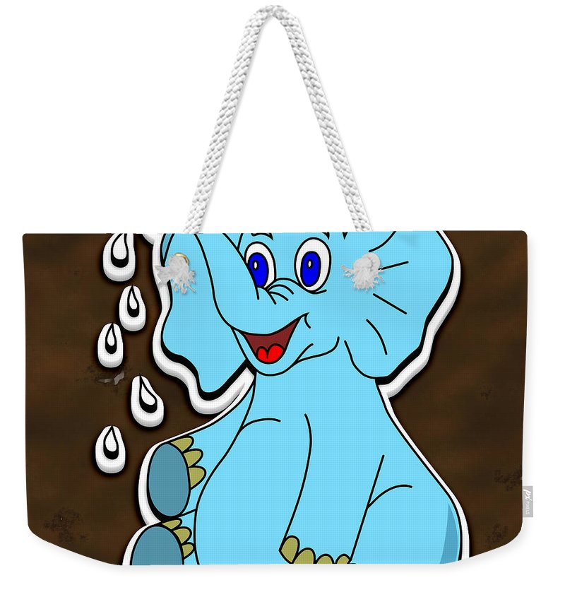 Background Weekender Tote Bag featuring the digital art Happy Blue Elephant Gingerbread by Miroslav Nemecek