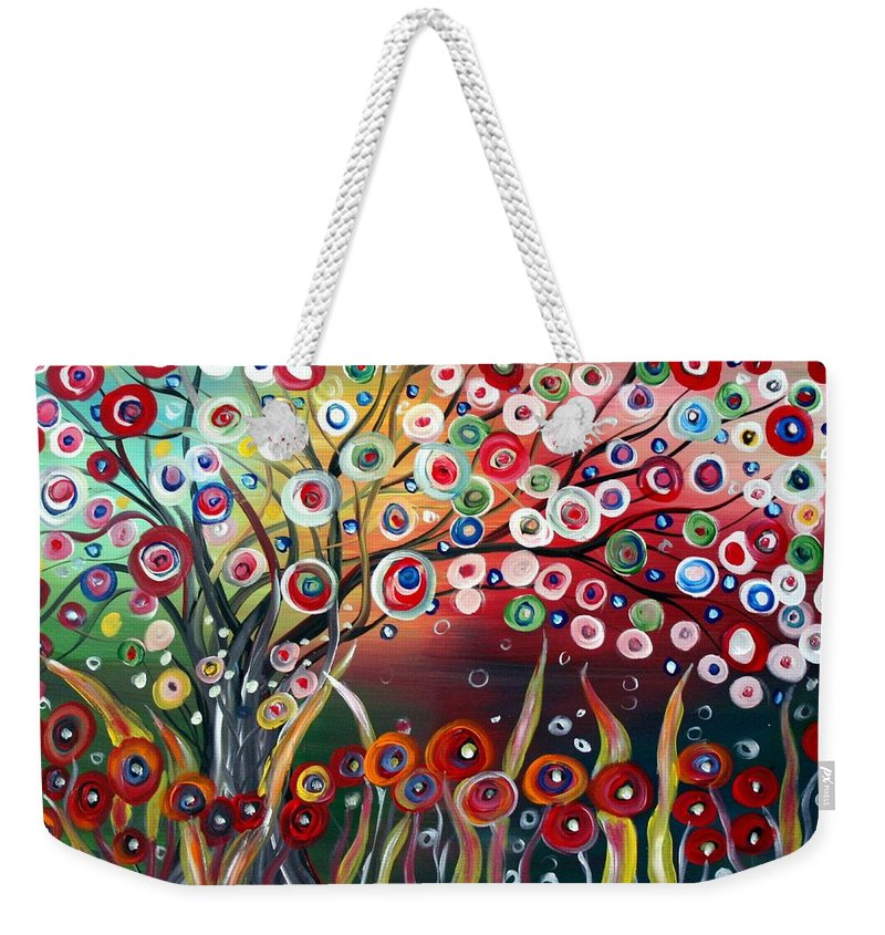 Landscape Weekender Tote Bag featuring the painting Happy Days by Luiza Vizoli