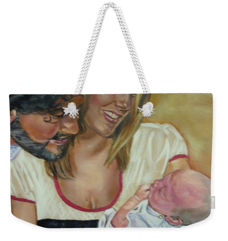 Family Weekender Tote Bag featuring the painting Happy Family by Bryan Bustard