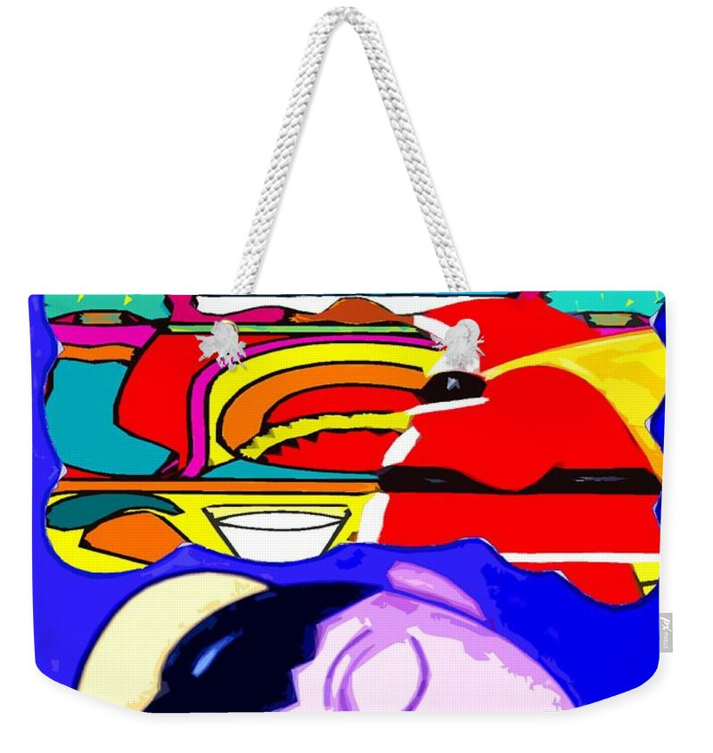 Christmas Weekender Tote Bag featuring the painting Happy Holidays 67 by Patrick J Murphy