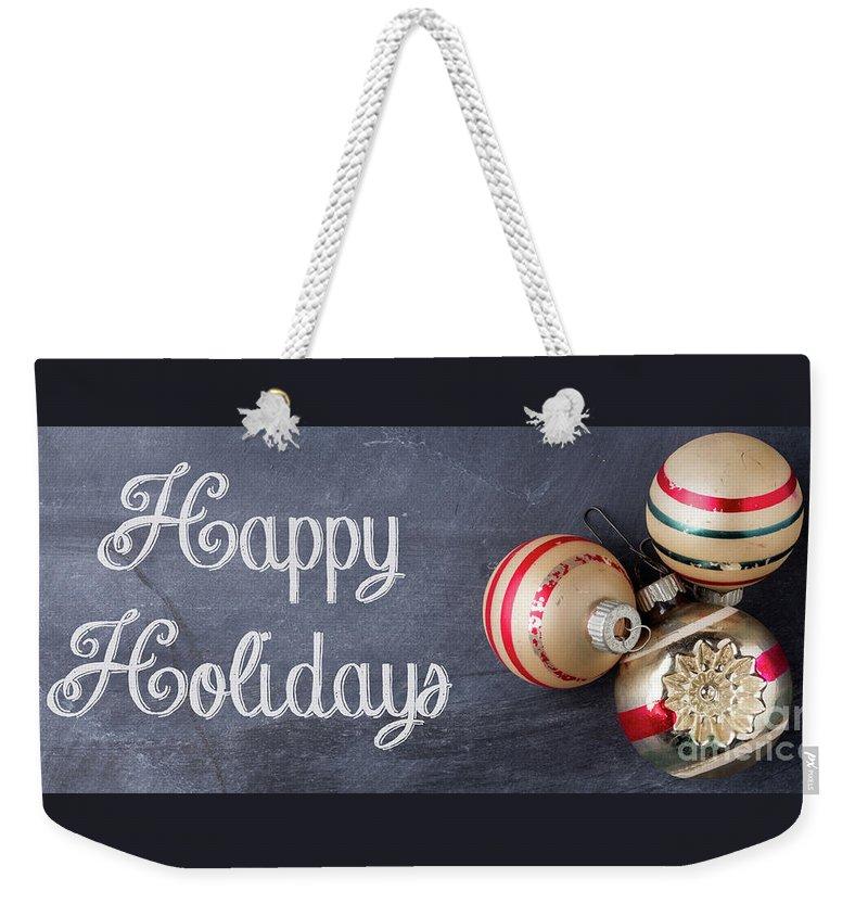 Mug Weekender Tote Bag featuring the photograph Happy Holidays Chalkboard Mug by Edward Fielding