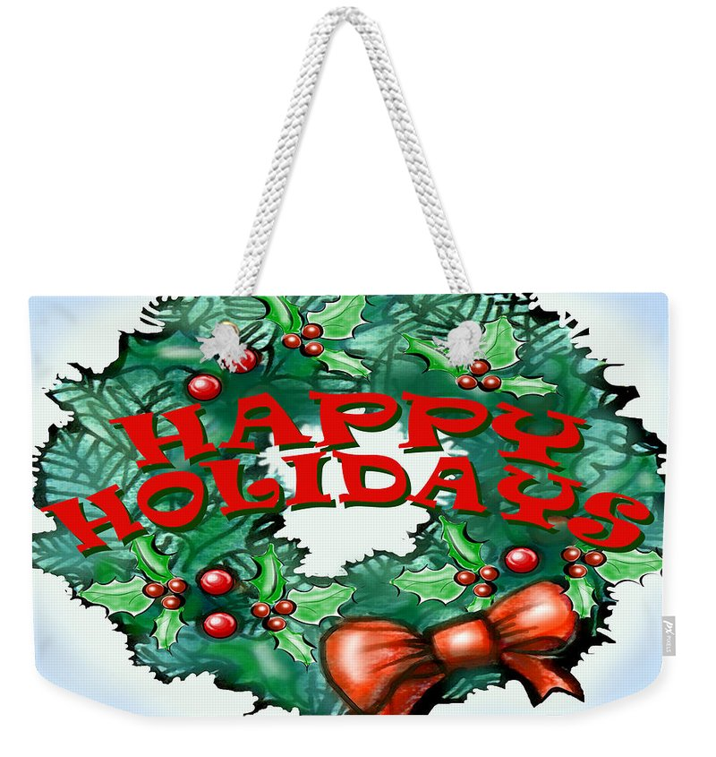 Happy Holidays Weekender Tote Bag featuring the greeting card Happy Holidays by Kevin Middleton