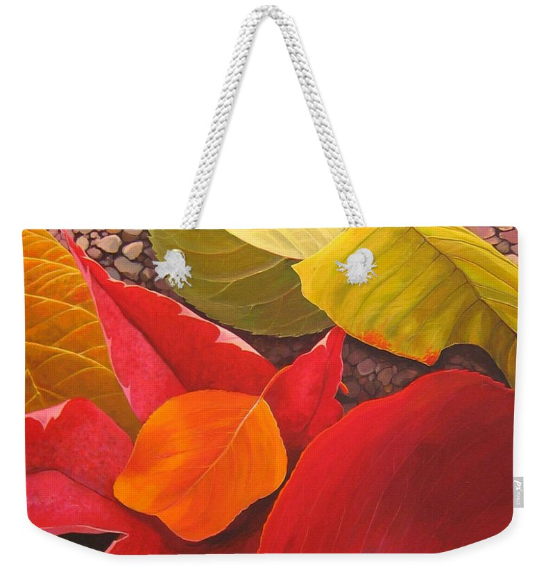 Autumn Leaves Weekender Tote Bag featuring the painting Happy Landings by Hunter Jay
