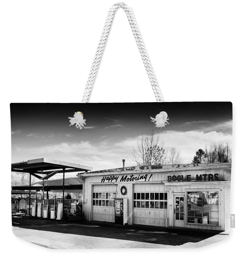 Black-and-white Weekender Tote Bag featuring the photograph Happy Motoring by Dominic Piperata