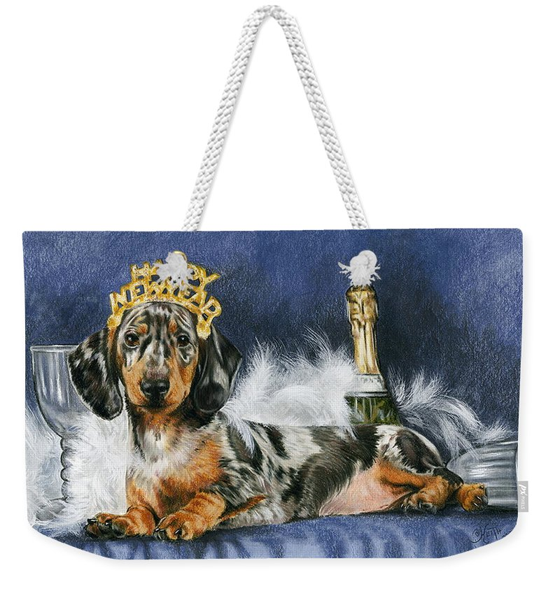 Dog Weekender Tote Bag featuring the mixed media Happy New Year by Barbara Keith