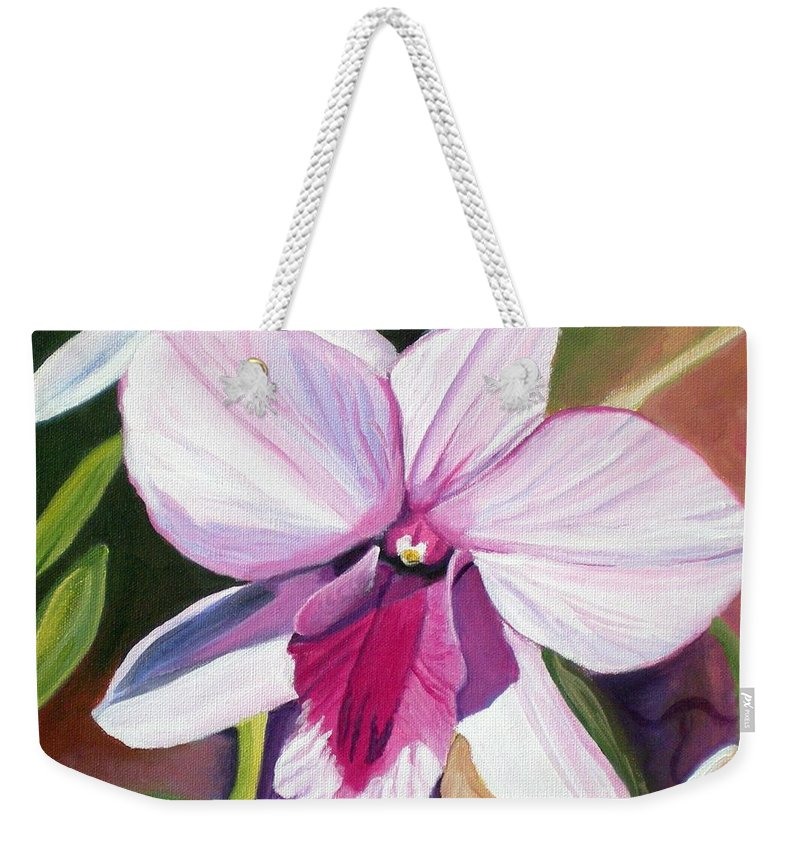 Kauai Weekender Tote Bag featuring the painting Happy Orchid by Marionette Taboniar