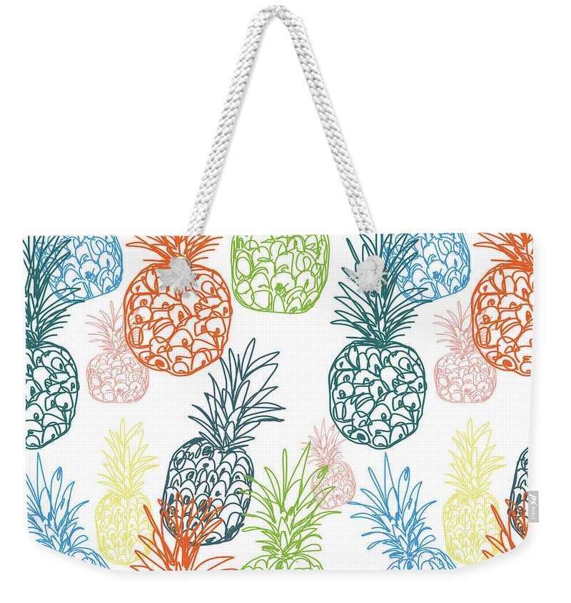 Pineapple Weekender Tote Bag featuring the digital art Happy Pineapple- Art by Linda Woods by Linda Woods