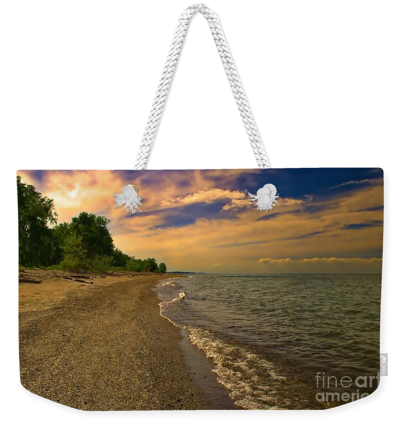 Lake Weekender Tote Bag featuring the photograph Happy Place by Gaby Swanson