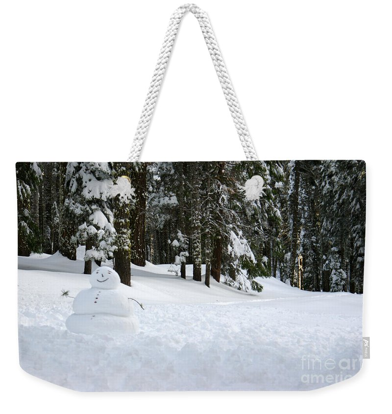 Snowman Weekender Tote Bag featuring the photograph Happy Snowman by Christine Jepsen
