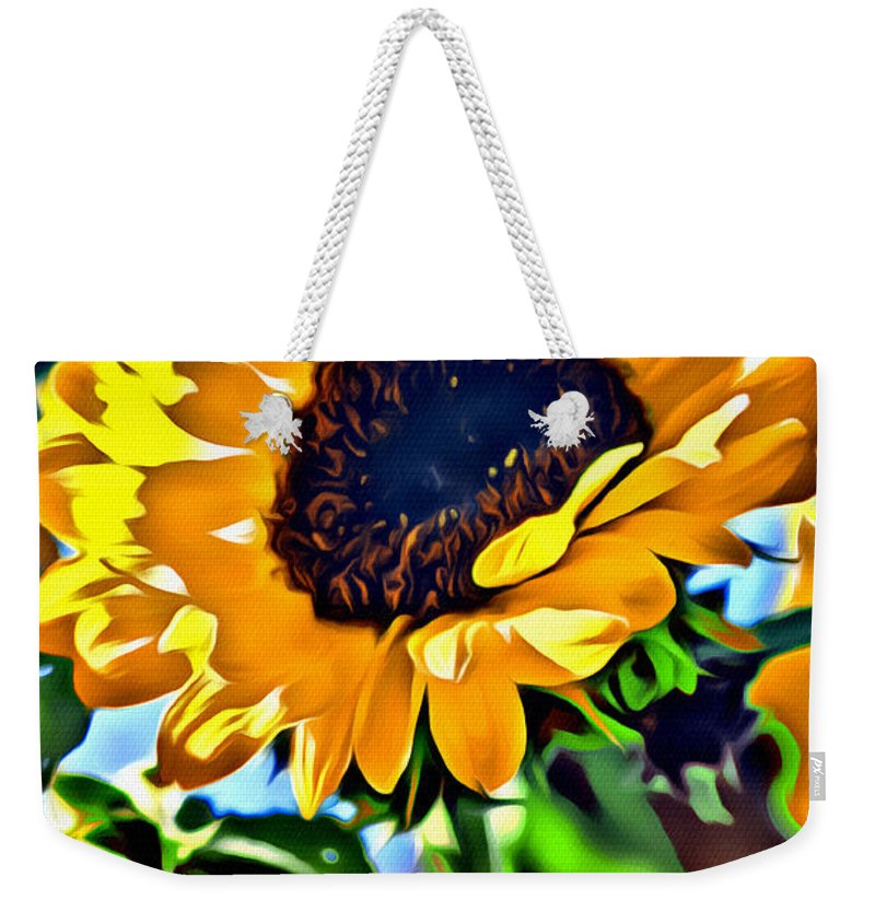 Sunflower Weekender Tote Bag featuring the photograph Happy Sunflower by Modern Art