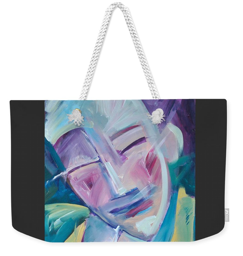 Happy Weekender Tote Bag featuring the painting Happy by Tim Nyberg
