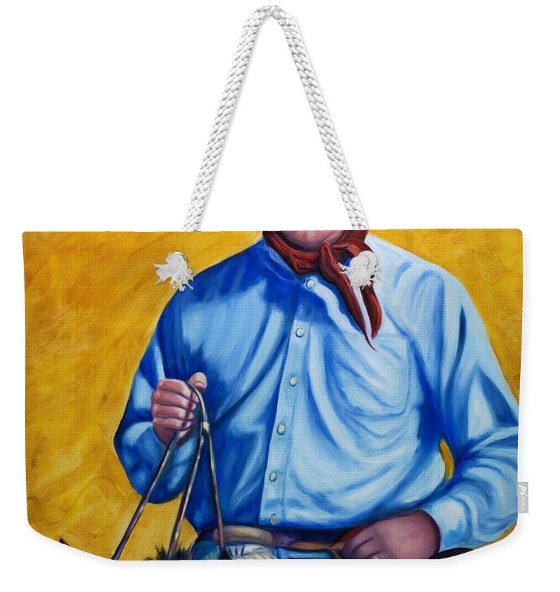 Cowboy Weekender Tote Bag featuring the painting Happy Trails by Shannon Grissom