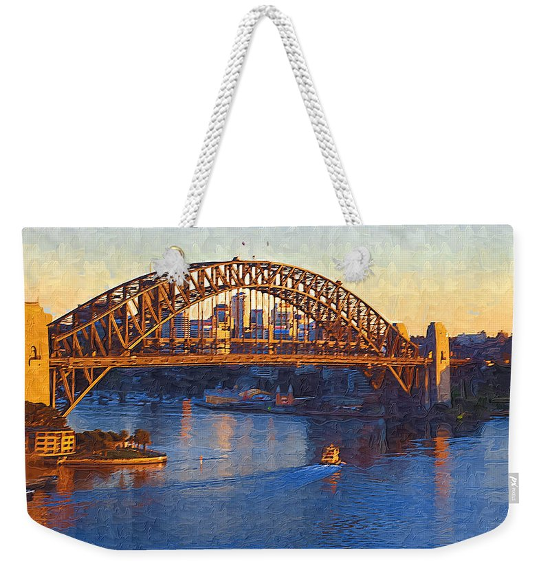 Sydney Weekender Tote Bag featuring the photograph Harbor Bridge At Sunset by Tom Reynen