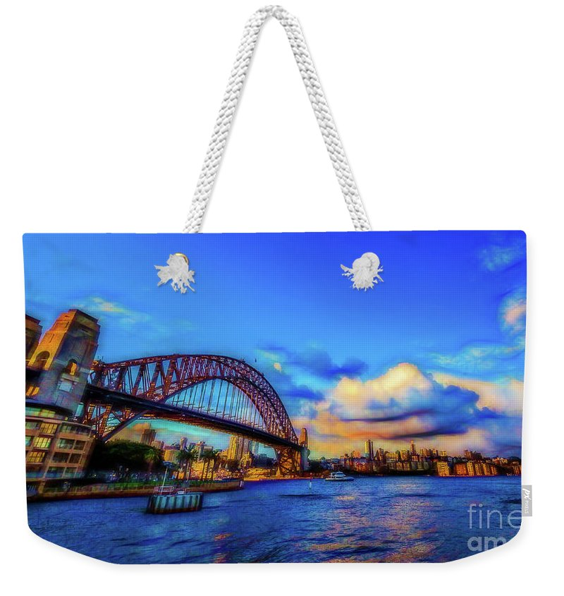 Water Weekender Tote Bag featuring the photograph Harbor Bridge by Perry Webster