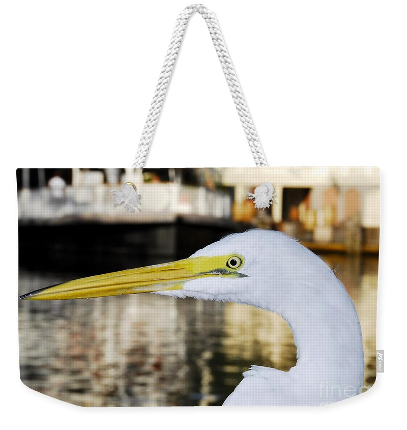 Egret Weekender Tote Bag featuring the photograph Harbor Egret by David Lee Thompson