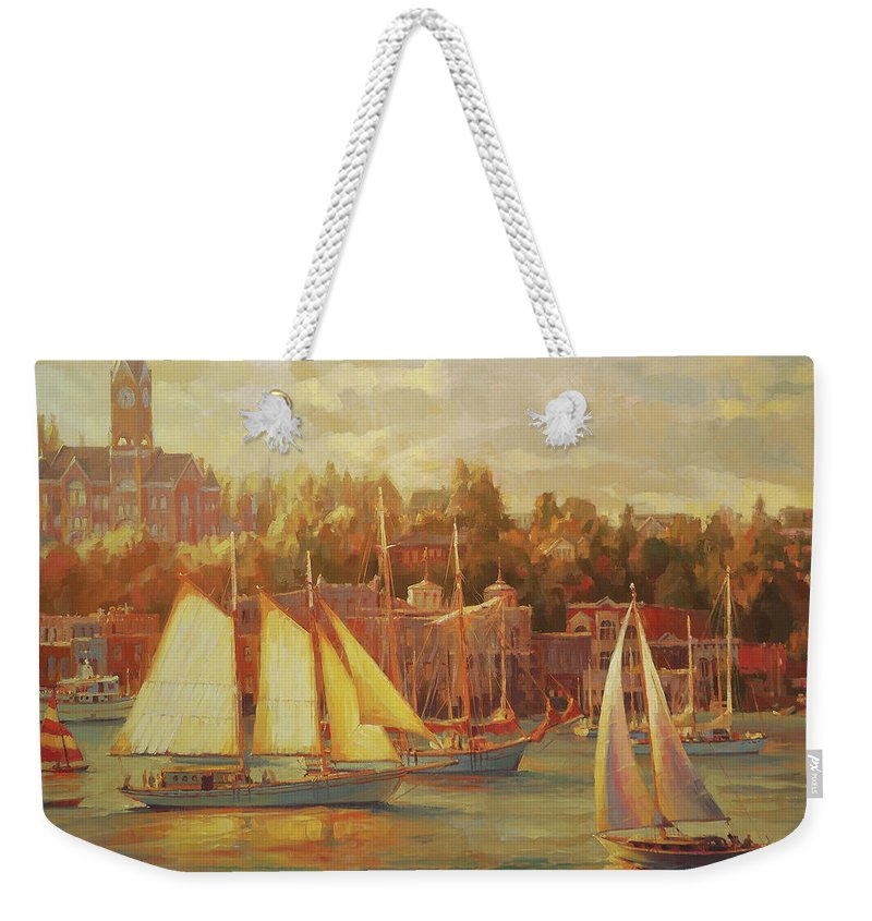 Nostalgia Weekender Tote Bag featuring the painting Harbor Faire by Steve Henderson