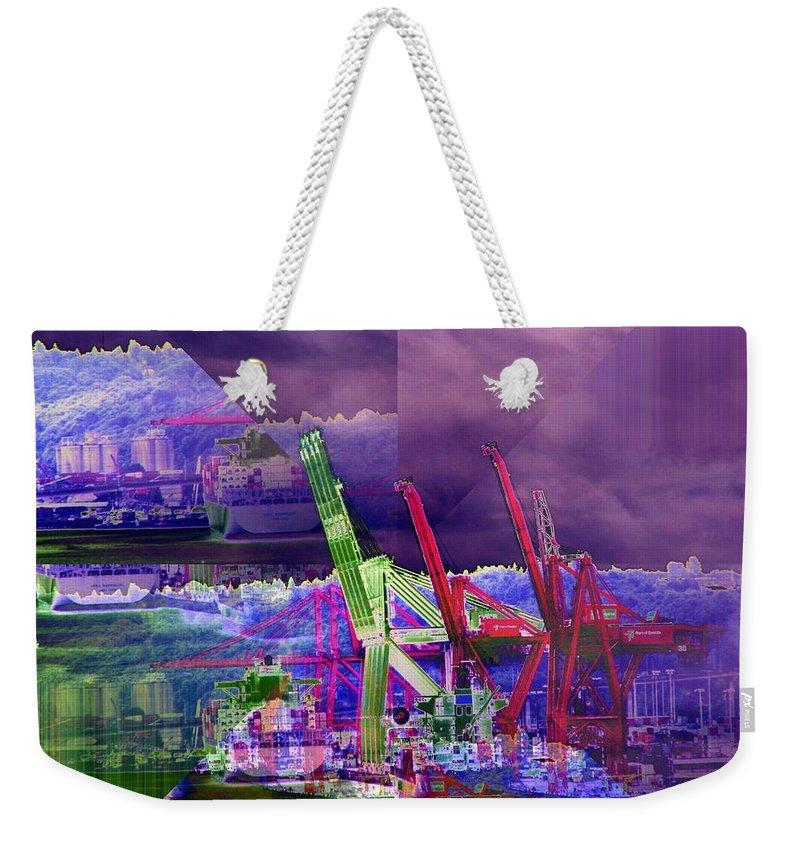 Seattle Weekender Tote Bag featuring the digital art Harbor Island Workhorses by Tim Allen