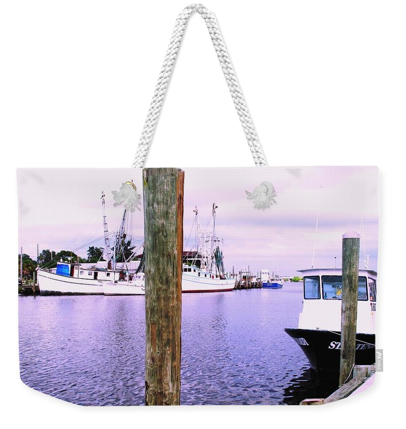 Tarpon Springs Weekender Tote Bag featuring the photograph Harbor Master by Ian MacDonald