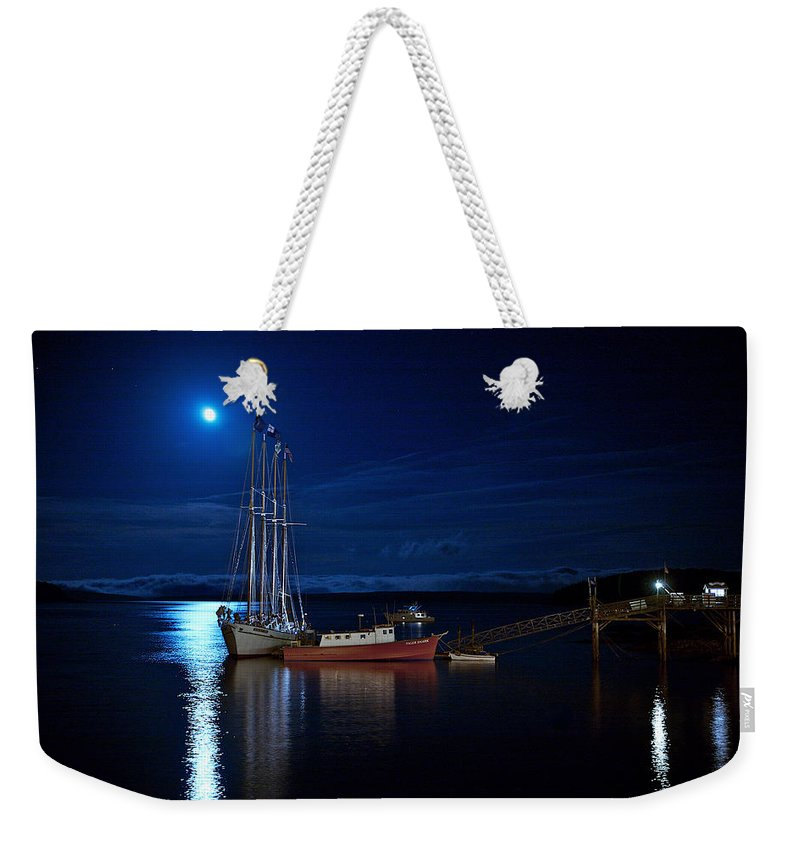 Lawrence Weekender Tote Bag featuring the photograph Harbor Moon by Lawrence Boothby