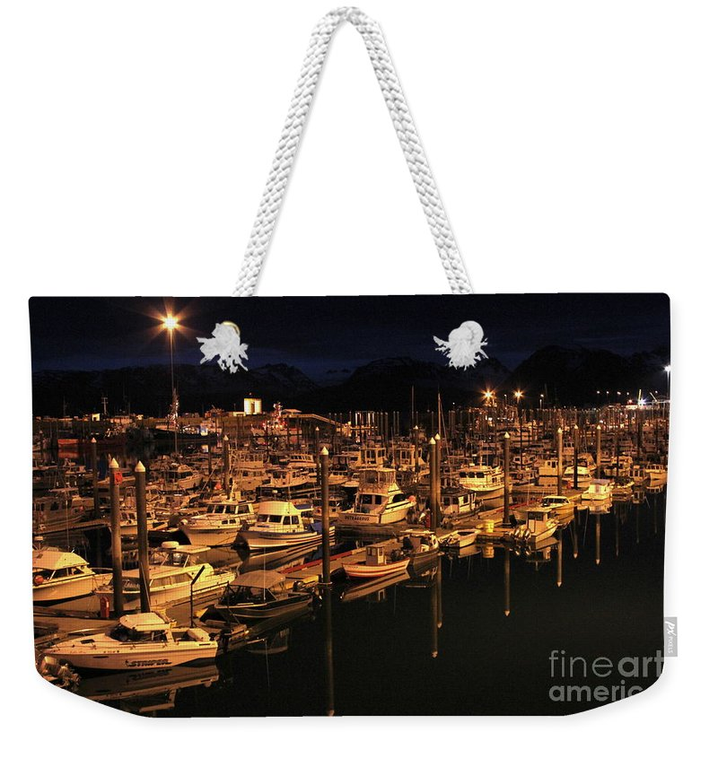 Harbor Weekender Tote Bag featuring the photograph Harbor Night by Rick Monyahan