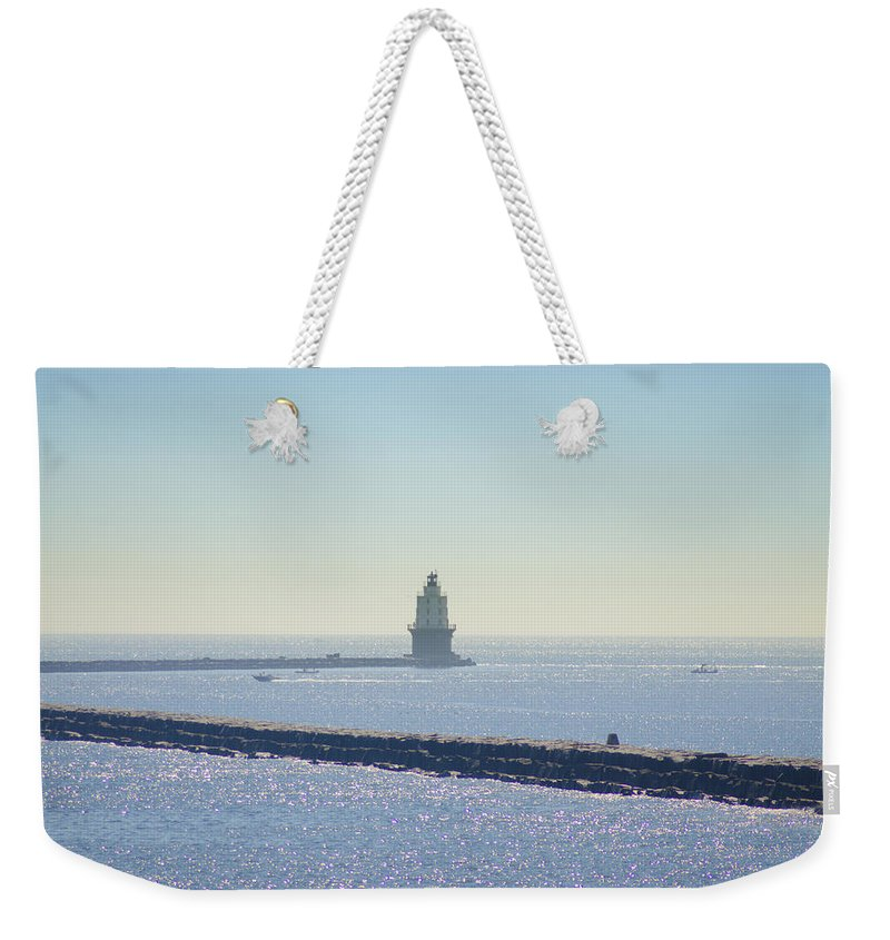 Harbor Weekender Tote Bag featuring the photograph Harbor Of Refuge Lighthouse Lewes Delaware by Bill Cannon