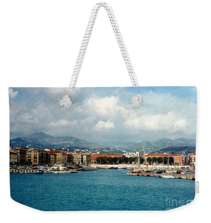 Landscape Weekender Tote Bag featuring the photograph Harbor Scene In Nice France by Nancy Mueller