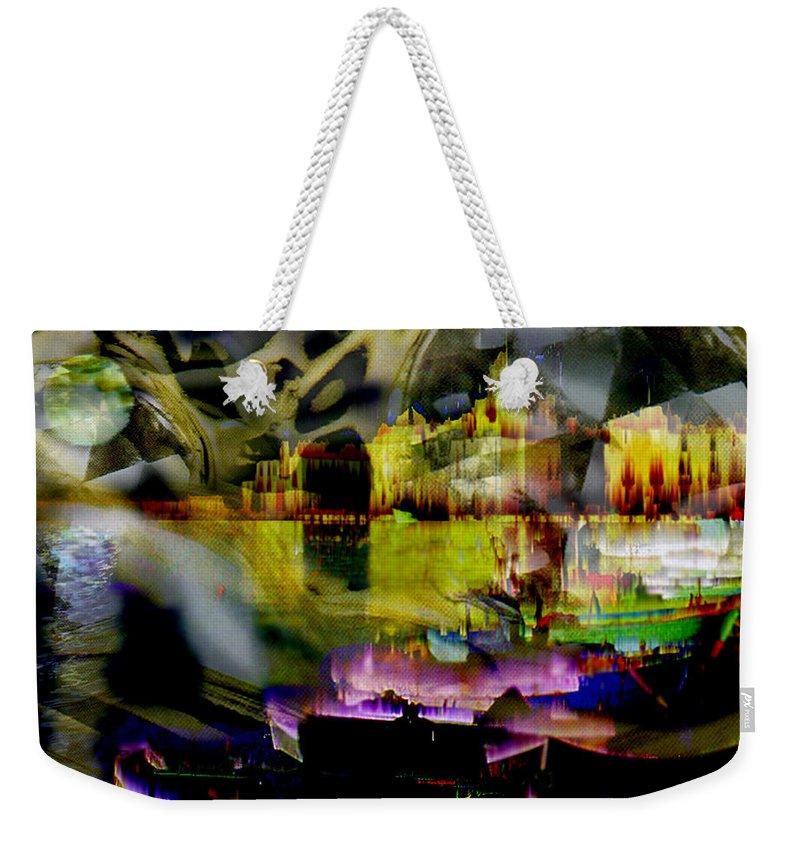 European Weekender Tote Bag featuring the digital art Harbor Scene Through A Vodka Bottle by Seth Weaver