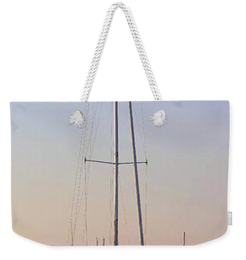 Boat Weekender Tote Bag featuring the photograph Harborside At Sunrise 3880 by Terri Winkler