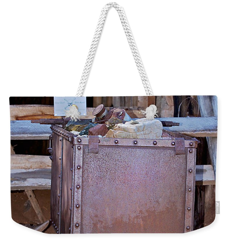 Mine Car Weekender Tote Bag featuring the photograph Hard Hat Area by Phyllis Denton