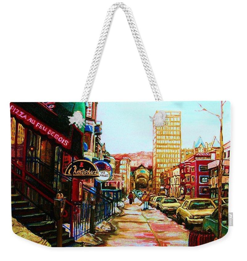Hardrock Cafe Weekender Tote Bag featuring the painting Hard Rock Cafe by Carole Spandau