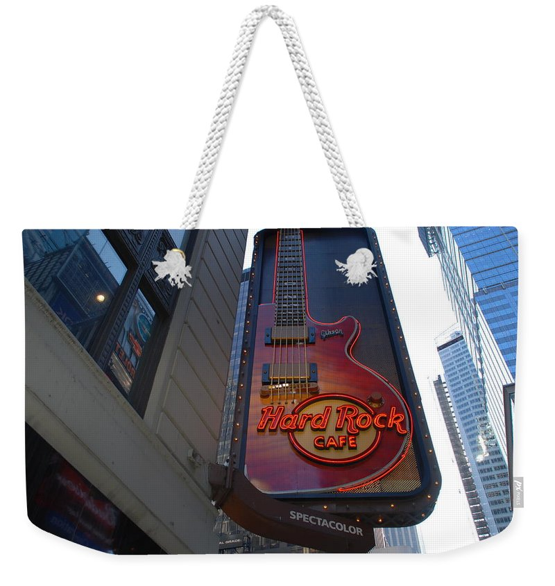 Music Weekender Tote Bag featuring the photograph Hard Rock Cafe N Y C by Rob Hans