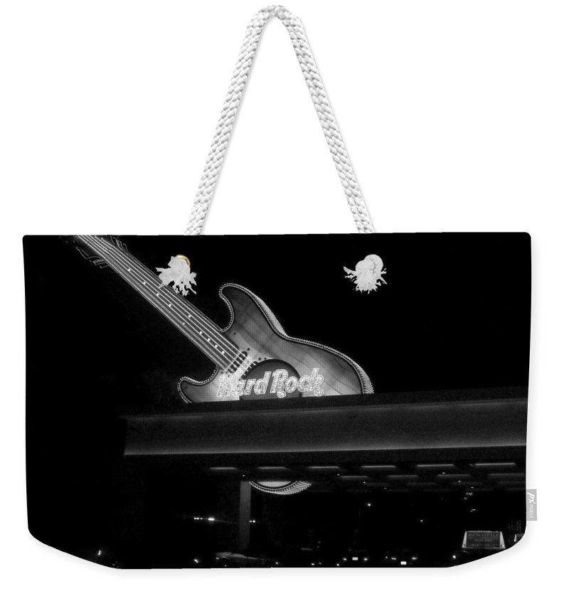 Vegas Weekender Tote Bag featuring the photograph Hard Rock Cafe Sign 2 B-w by Anita Burgermeister