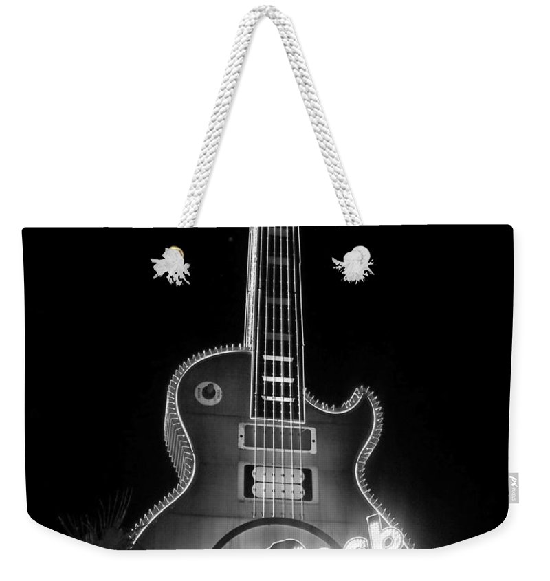 Vegas Weekender Tote Bag featuring the photograph Hard Rock Cafe Sign B-w by Anita Burgermeister