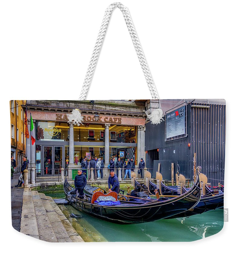 Europe Weekender Tote Bag featuring the photograph Hard Rock Cafe Venice Gondolas_dsc1294_02282017 by Greg Kluempers