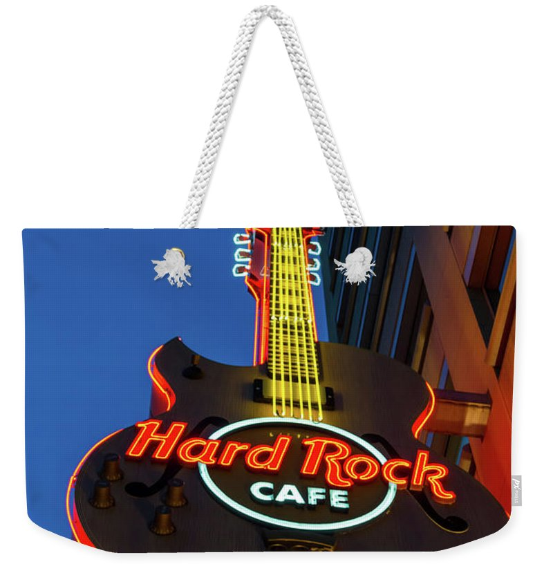 America Weekender Tote Bag featuring the photograph Hard Rock Guitar Detroit by Jennifer White