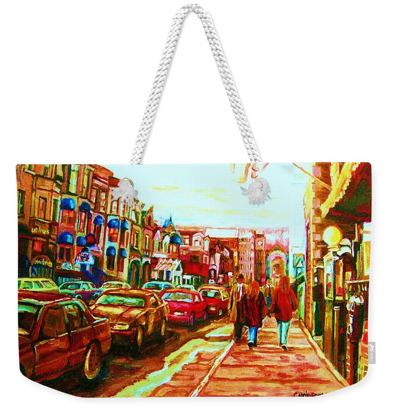 Montreal Streetscenes Weekender Tote Bag featuring the painting Hard Rock On Crescent by Carole Spandau