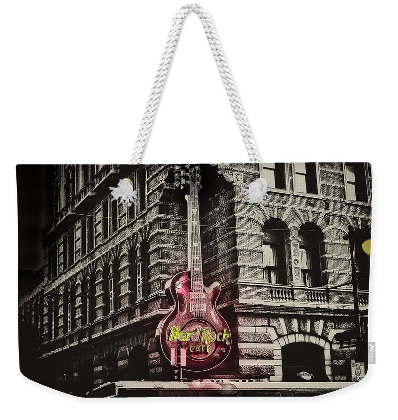 Philadelphia Weekender Tote Bag featuring the photograph Hard Rock Philly by Bill Cannon