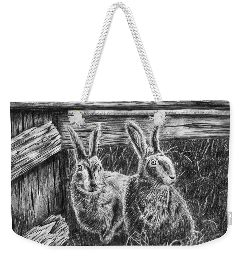 Hare Line Weekender Tote Bag featuring the drawing Hare Line by Peter Piatt