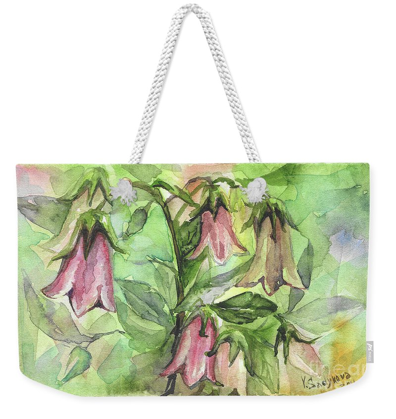 Harebell Weekender Tote Bag featuring the painting Harebell by Yana Sadykova