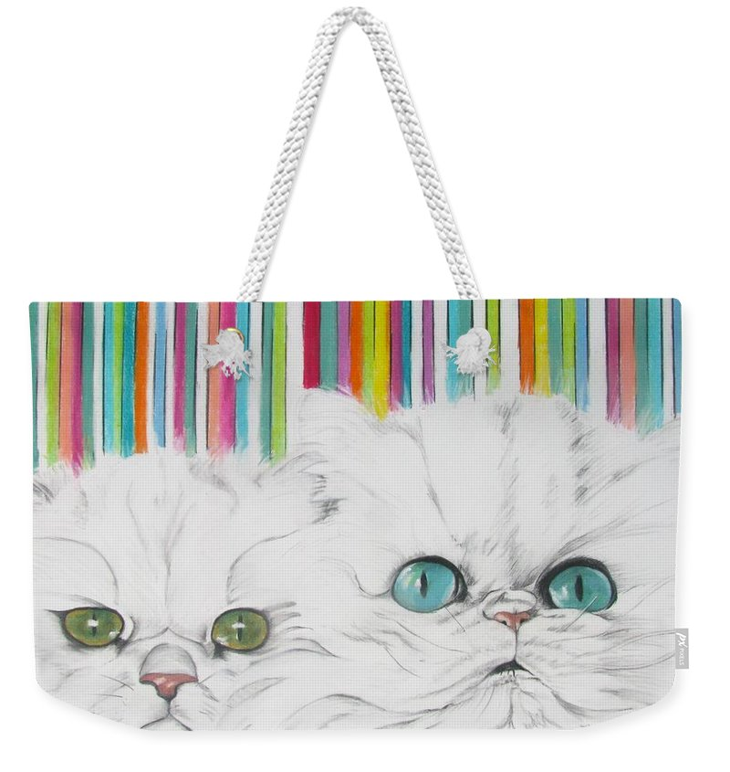 Cat Painting Weekender Tote Bag featuring the pastel Harley And Chloe by Michelle Hayden-Marsan