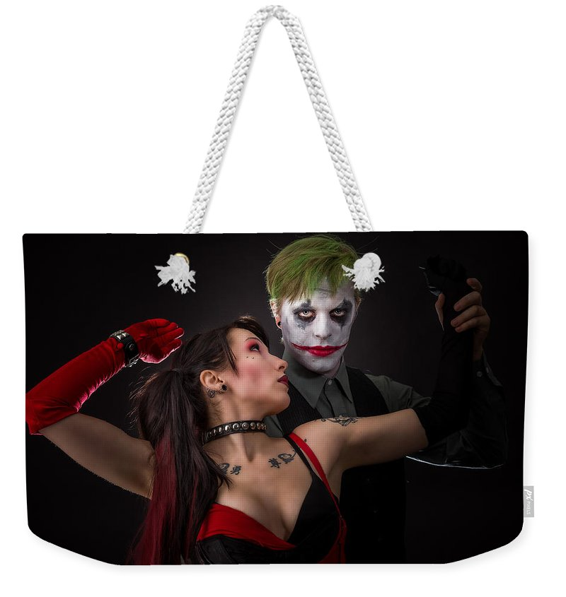 Action Figure Weekender Tote Bag featuring the photograph Harley And The Joker by Rikk Flohr