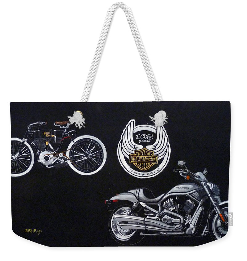 Bikes Weekender Tote Bag featuring the painting Harley Davidson 105th Anniversary by Richard Le Page